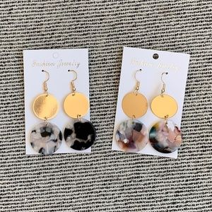 Jewelry - Set of 2 Gold & Acrylic Statement Earring